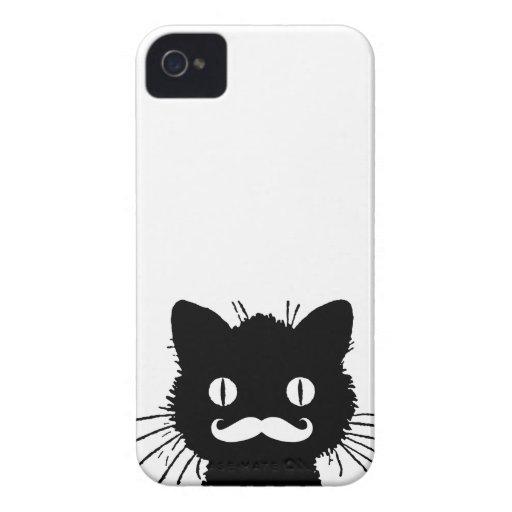 Bigote retro divertido del gato negro iPhone 4 Case-Mate cárcasa