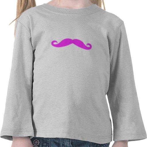 Bigote rosado fucsia femenino camisetas