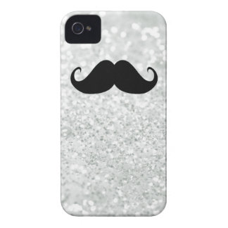 Bigote y chispa negros divertidos Bling del blanco Funda Para iPhone 4 De Case-Mate