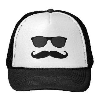 Bigote y gafas de sol negros divertidos gorra