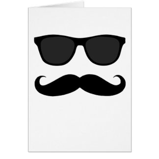 Bigote y regalo negros del humor de las gafas de s tarjeta de felicitación