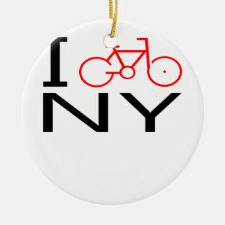 Bike la camiseta de Nueva York Adorno Navideño Redondo De Cerámica