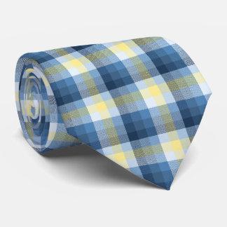 Bilateral azul y amarillo de la tela escocesa loca corbata personalizada