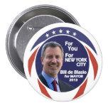 Bill de Blasio NYC alcalde 2012 Pin