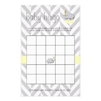 Bingo amarillo y gris dulce de la fiesta de papelería
