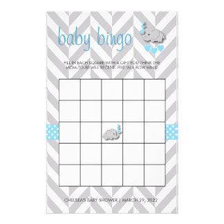 Bingo azul y gris dulce de la fiesta de bienvenida papelería