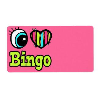 Bingo brillante del amor del corazón I del ojo Etiqueta De Envío