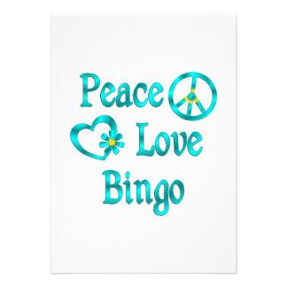 Bingo del amor de la paz invitacion personal