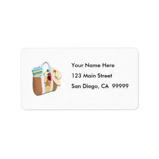 Bingo del bolso de la playa etiquetas de dirección