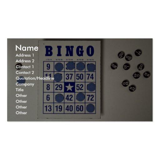 Bingo el juego de juego tarjetas de visita