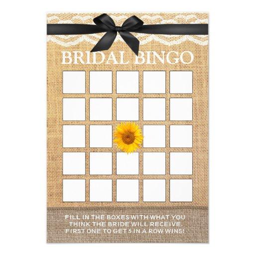 Bingo nupcial de la cinta de la arpillera negra co anuncios personalizados