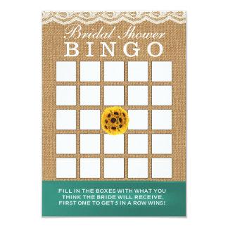 Bingo nupcial de la ducha de la arpillera de los invitación 8,9 x 12,7 cm
