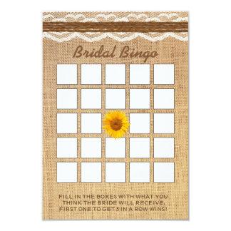 Bingo nupcial de la ducha de la arpillera del invitación 8,9 x 12,7 cm