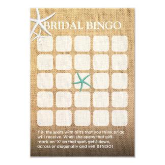 Bingo nupcial rústico de la ducha de la arpillera invitación 8,9 x 12,7 cm