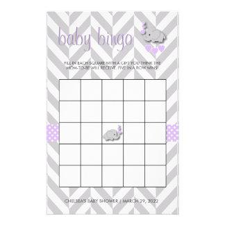 Bingo púrpura y gris de la fiesta de bienvenida al papelería