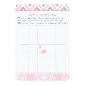 Bingo rosado de la fiesta de bienvenida al bebé de invitación 12,7 x 17,8 cm