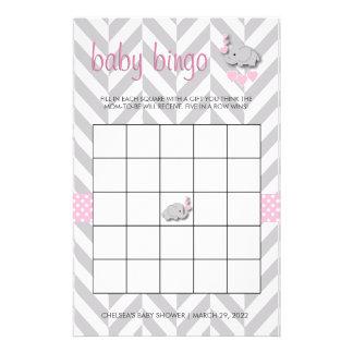 Bingo rosado y gris de la fiesta de bienvenida al papelería