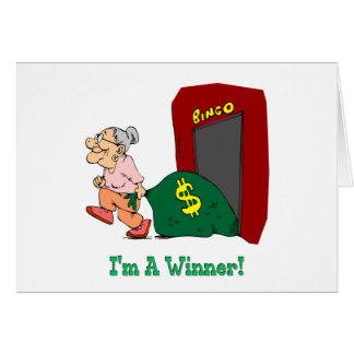 Bingo - soy un ganador tarjeta de felicitación