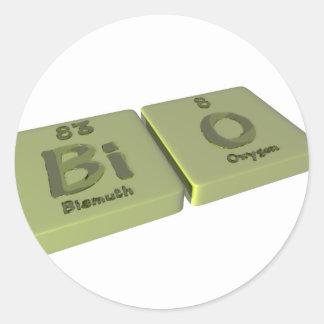 Bio como el bismuto del BI y oxígeno de O Pegatina Redonda