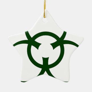 Bio símbolo del peligro adorno navideño de cerámica en forma de estrella