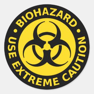 Biohazard - tenga mucho cuidado pegatina redonda
