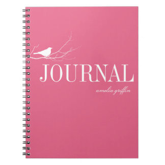Bird perched on tree branch pink custom journal note book