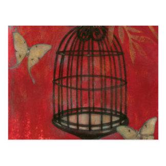 Birdcage decorativo con las mariposas postal