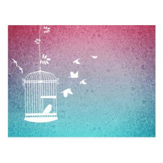 Birdcage y pájaros del vintage postal