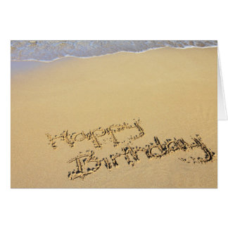 Birthday Card: Happy Birthday on Beach the Tarjeta De Felicitación