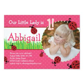 Birthday de pequeña señora - mariquitas invitación 12,7 x 17,8 cm