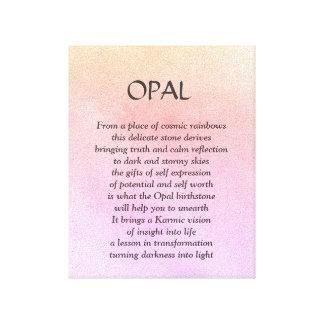 Birthstone del ópalo - lona de arte del poema de