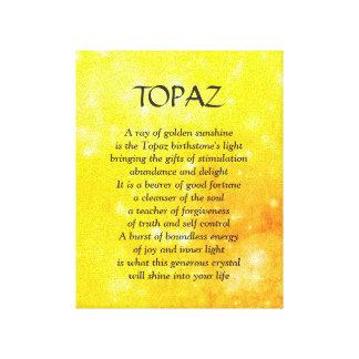 Birthstone del Topaz - lona de arte del poema de