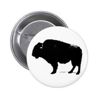 Bisonte negro y blanco del búfalo del arte pop chapa redonda de 5 cm