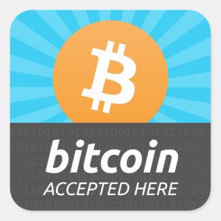 """""""Bitcoin aceptó aquí"""" al pegatina"""