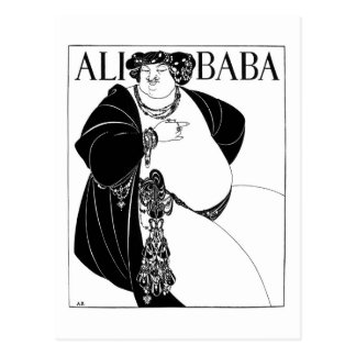 Bizcocho borracho de Ali, Aubrey Beardsley Postal
