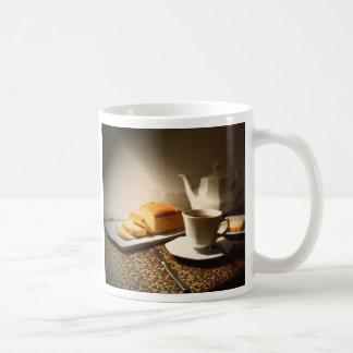 Bizcocho y té tazas de café