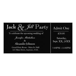 Black Jack e invitación del boleto de la ducha de
