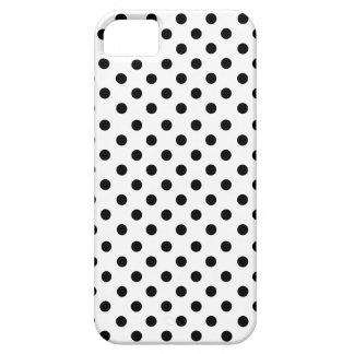 Black polka dots in white funda para iPhone SE/5/5s