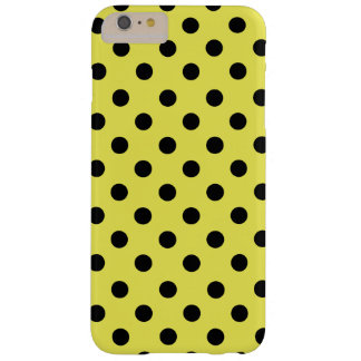 Black polka dots in yellow funda barely there iPhone 6 plus