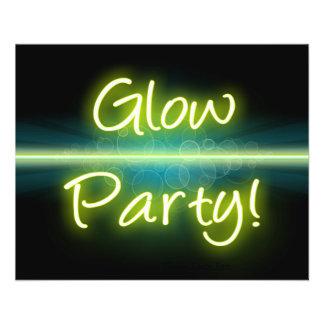 Blacklight amarillo/verde del fiesta del tarjetones