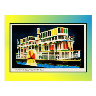 Blackpool iluminó la tranvía como vapor de tarjetas postales