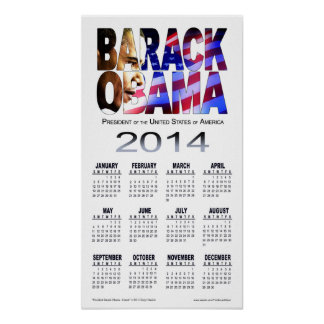 Blanco 2014 del calendario el | del recorte de Bar Poster