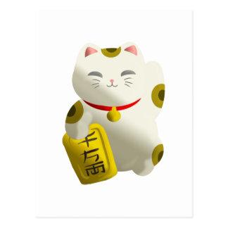 Blanco afortunado del gato postal