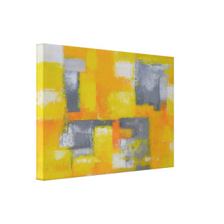 blanco amarillo gris de la pintura abstracta lienzo
