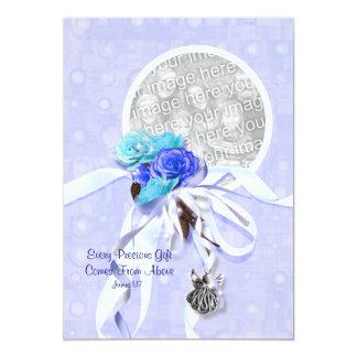 Blanco azul de la confirmación de la comunión del invitación 12,7 x 17,8 cm