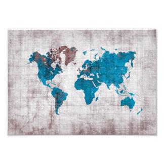 blanco azul del mapa del mundo foto