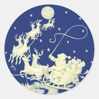 Blanco azul del navidad del paseo de la noche del pegatina redonda