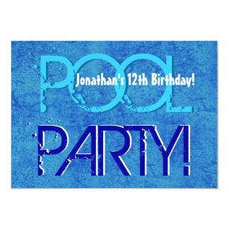 Blanco azul V01 de la 12ma fiesta en la piscina Invitación 12,7 X 17,8 Cm