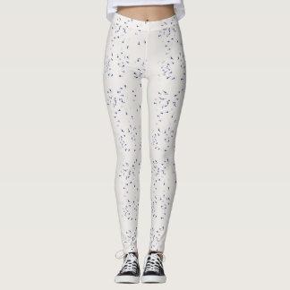 Blanco con las polainas azules de las manchas leggings