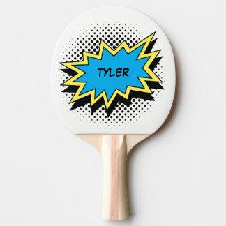 Blanco conocido colorido del estilo del cómic pala de ping pong